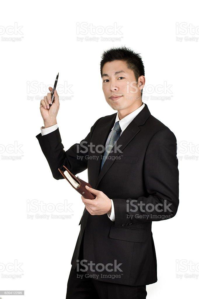 young asian business man explain stock photo
