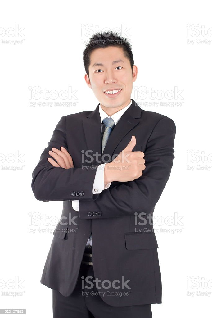 young asian business man expresses appreciation stock photo