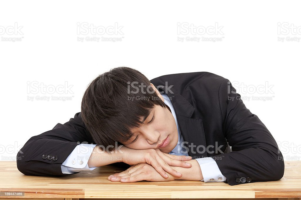 Young Asian business man having a stress royalty-free stock photo