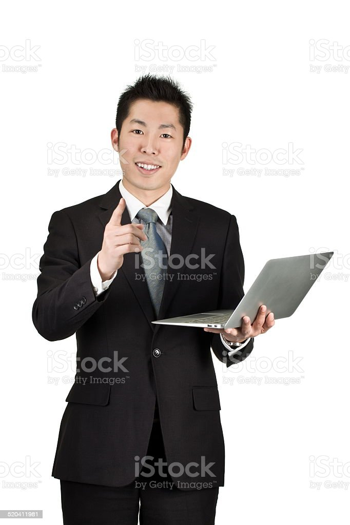 young asian business man hold a laptop stock photo