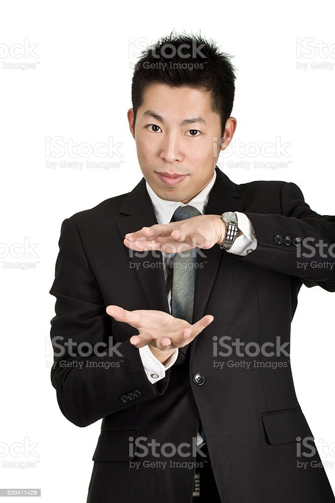 young asian business man hold something stock photo