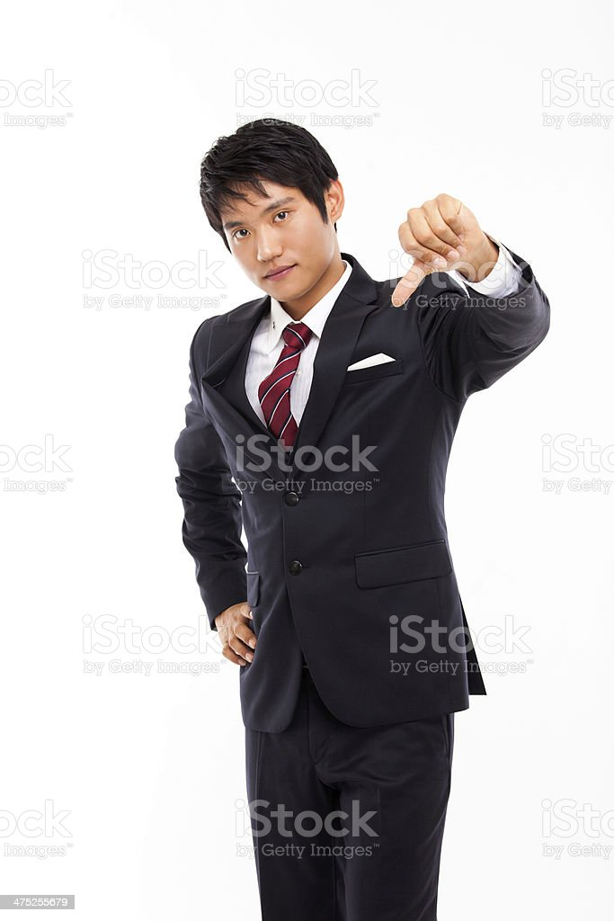 Young Asian business man show bed sign stock photo