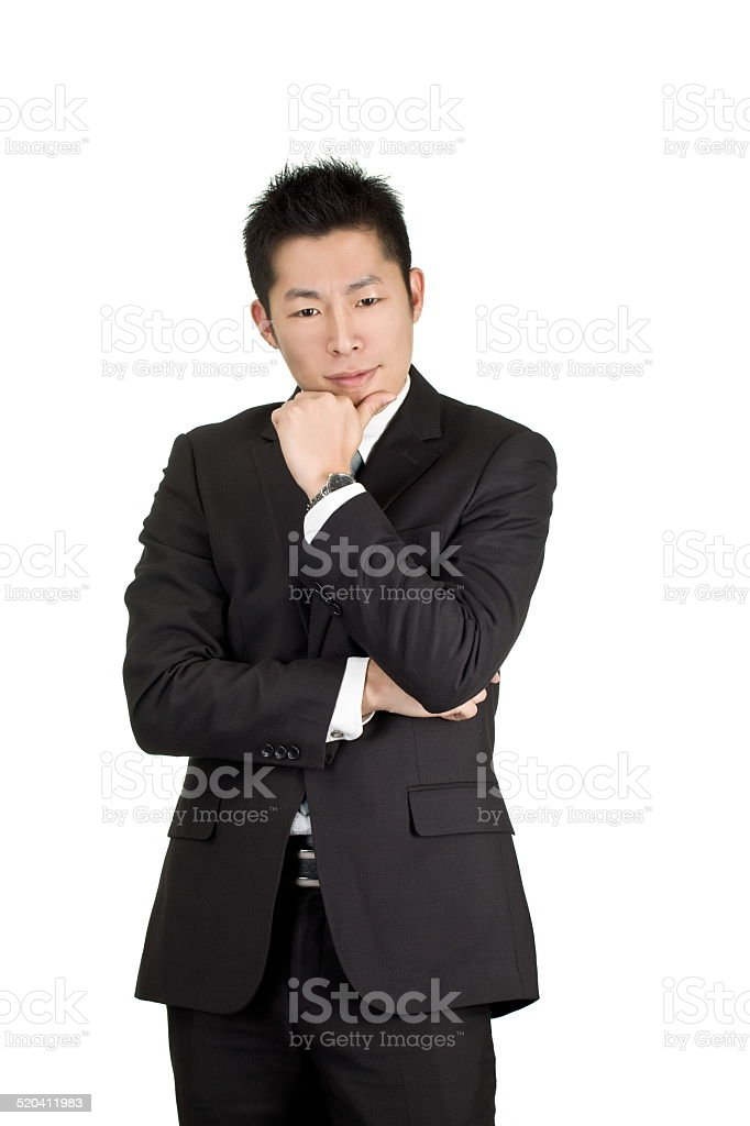 young asian business man thinking stock photo