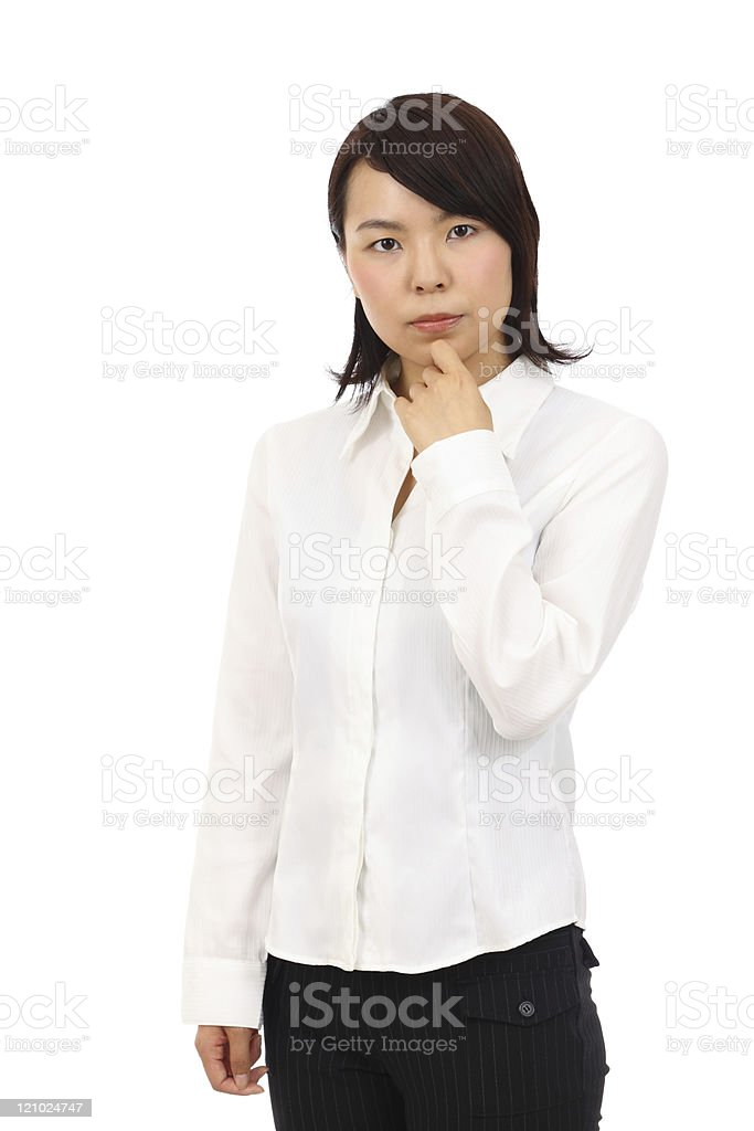 Young asian business woman thinking stock photo