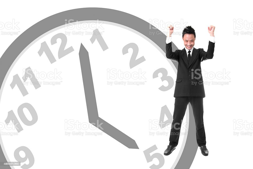 Young Asian Businessman Expressing Cheerful When Had Finished Wo royalty-free stock photo