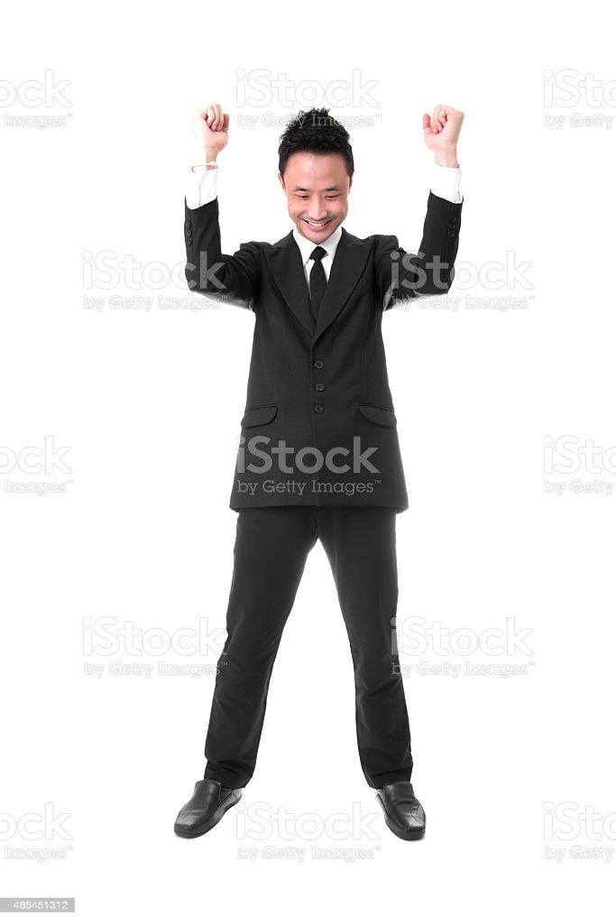 Young Asian Businessman Expressing Excitement of Victory royalty-free stock photo