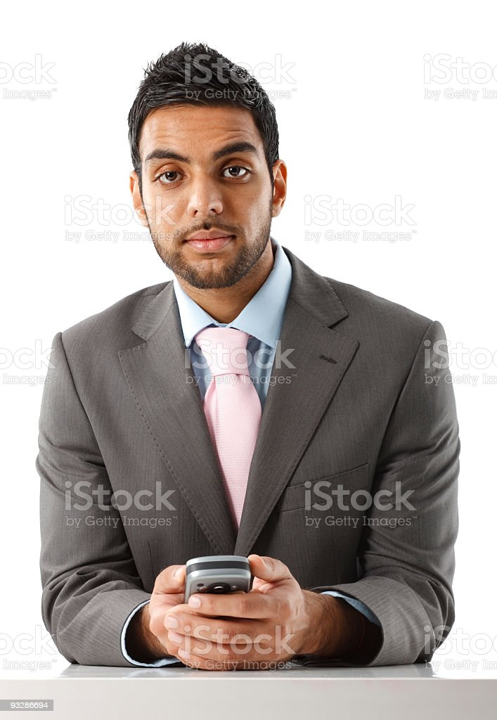 Young asian businessman holding pda stock photo