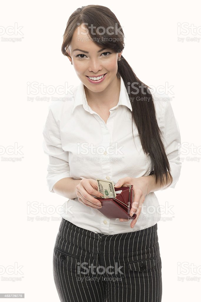 Young Asian Businesswoman Taking Currency From Wallet royalty-free stock photo