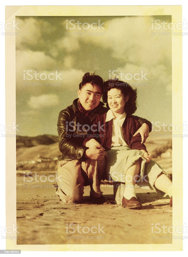 Young Asian Couple at the Beach stock photo