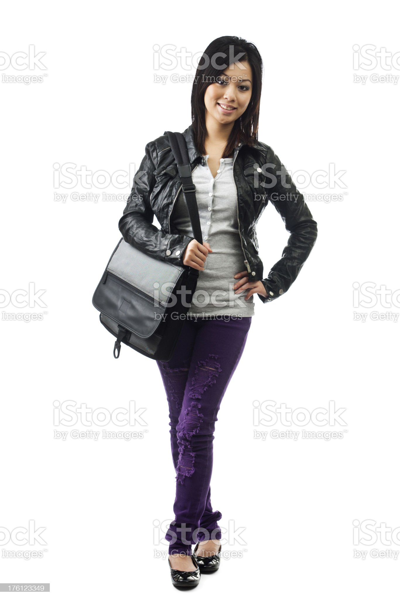 Young Asian Female Student Isolated on White Background royalty-free stock photo