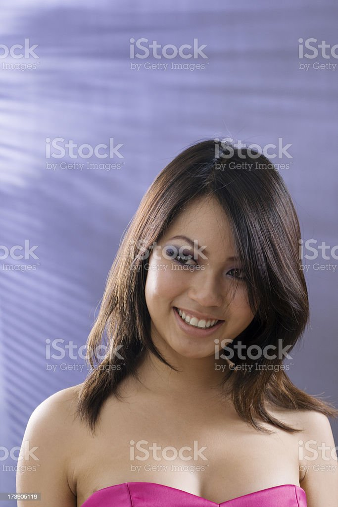 Young Asian Model in Magenta Dress royalty-free stock photo