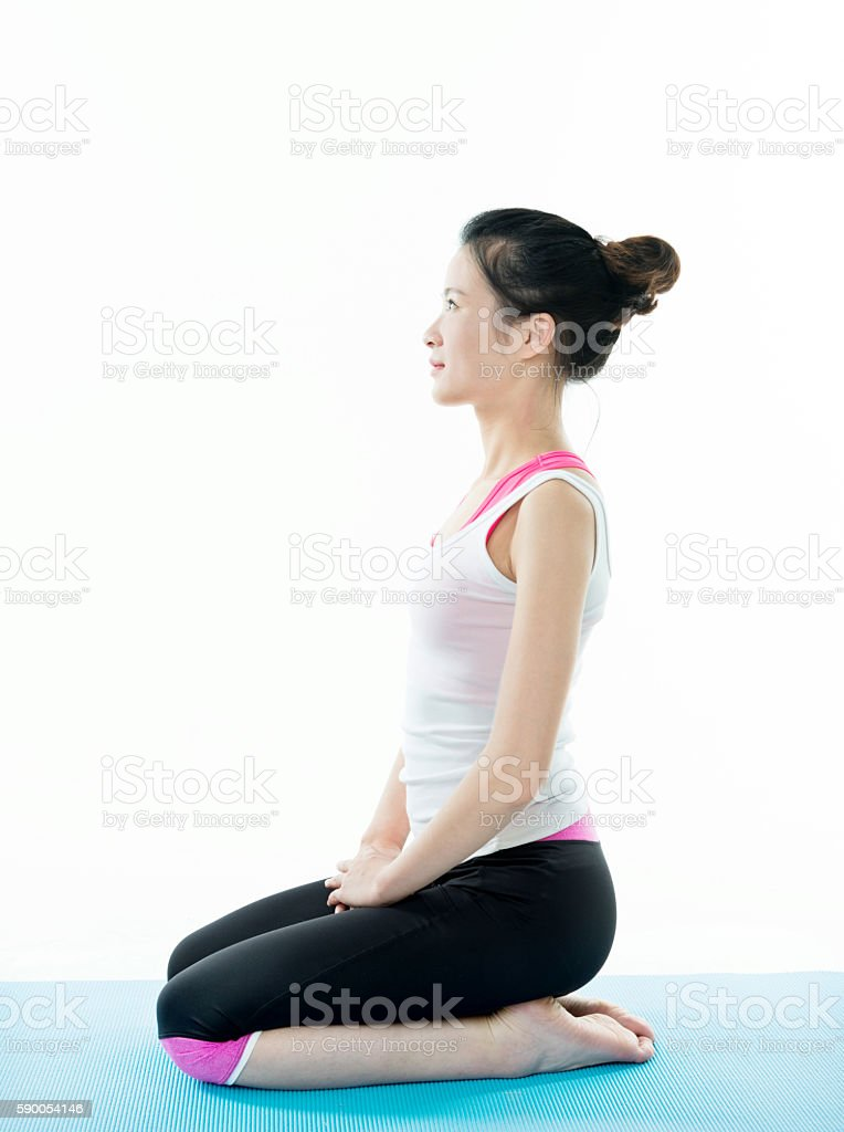 Young asian woman doing relaxation exercise stock photo