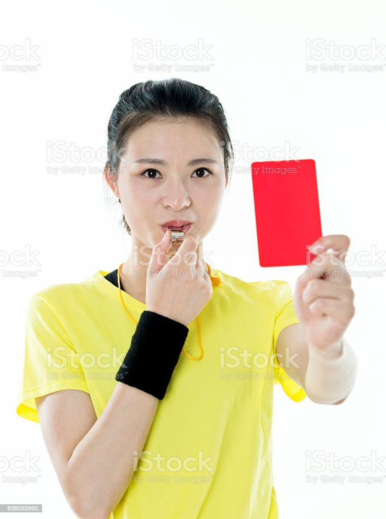 Young asian woman holding red card stock photo