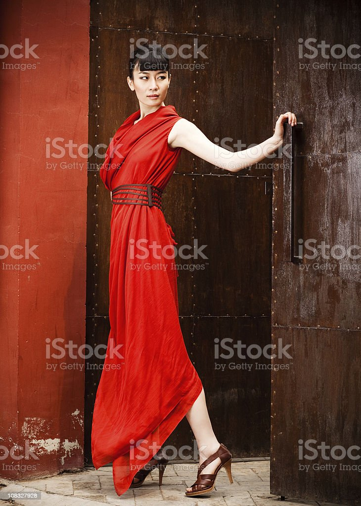Young asian woman in red dress royalty-free stock photo