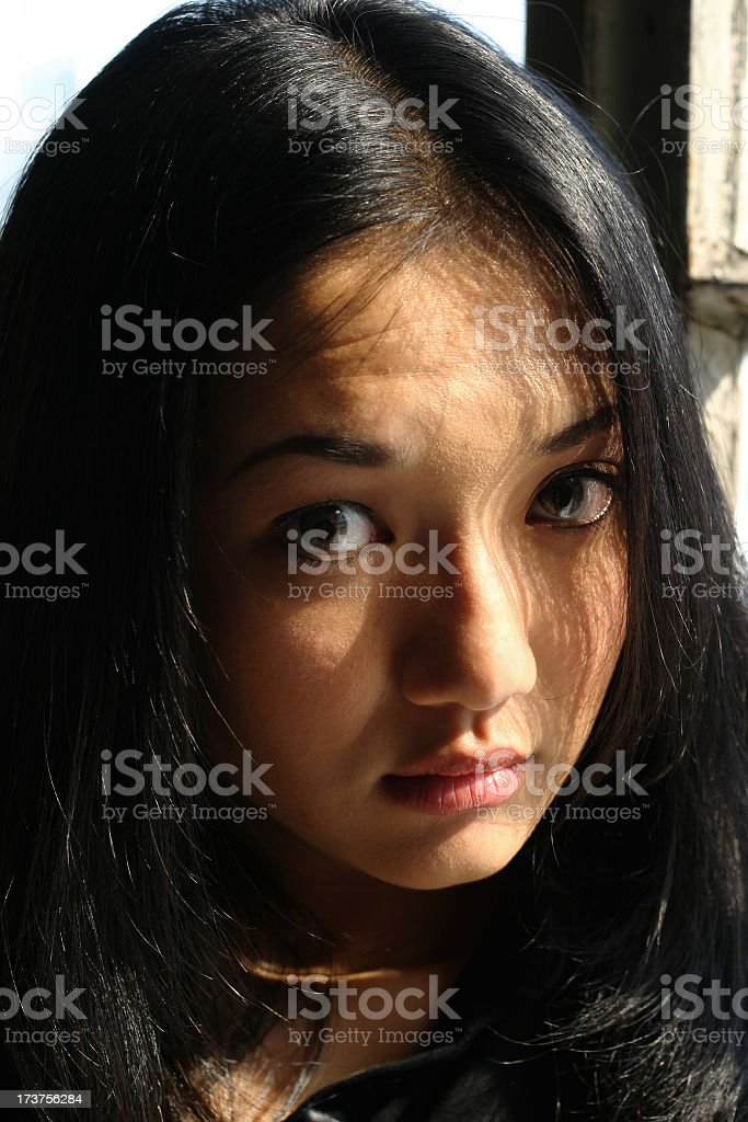 Young Asian Woman - Serious stock photo
