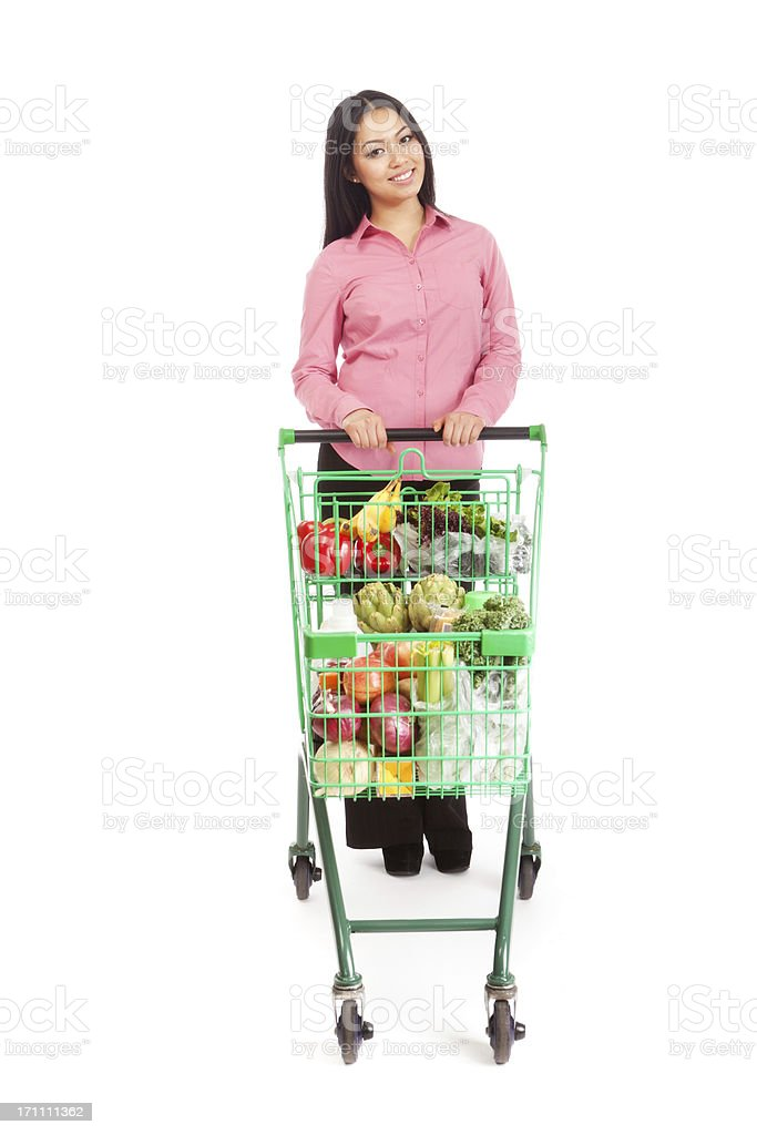 Young Asian Woman Shopper Customer with Grocery Cart on White royalty-free stock photo