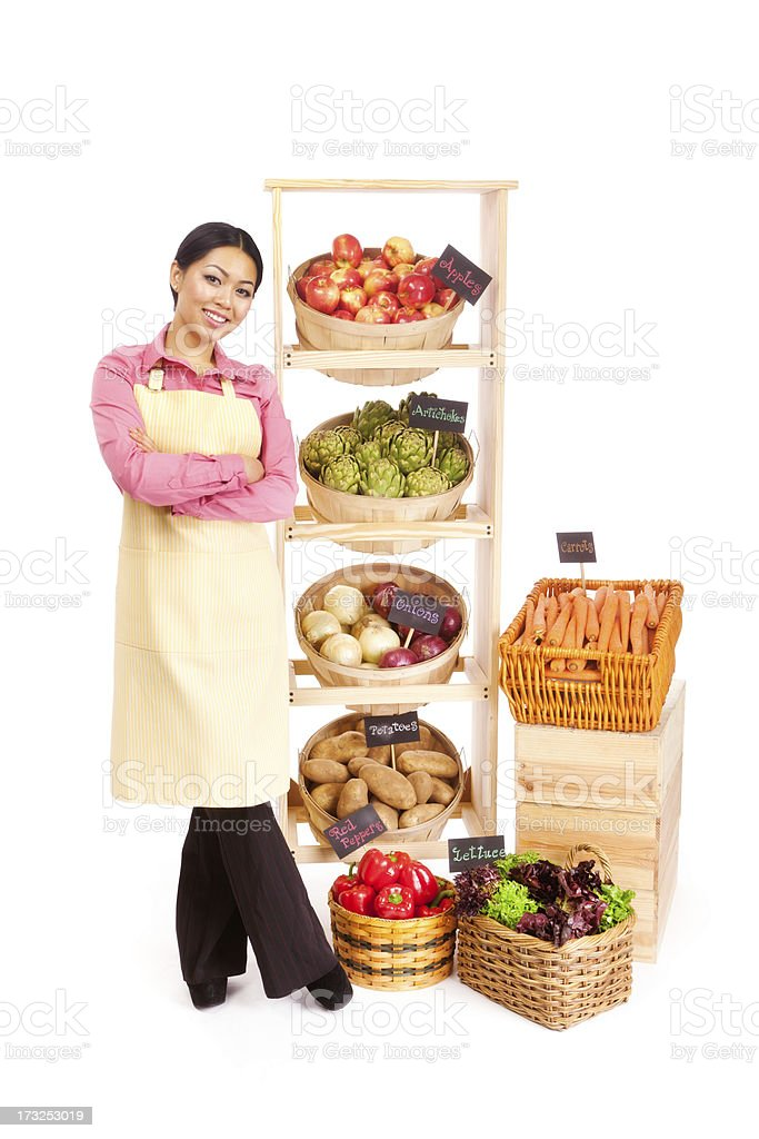 Young Asian Woman Small Business Grocery Store Owner on White royalty-free stock photo