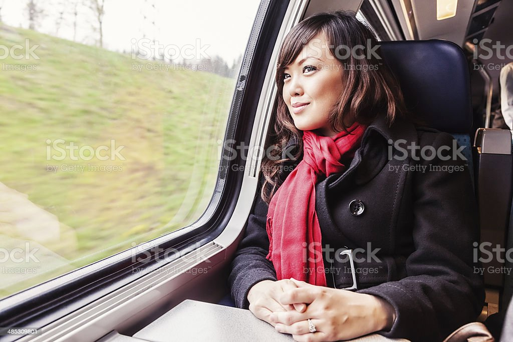Young Asian Woman Traveling by Train stock photo