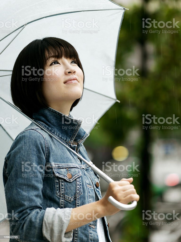 Young Asian Woman with an Umbrella stock photo