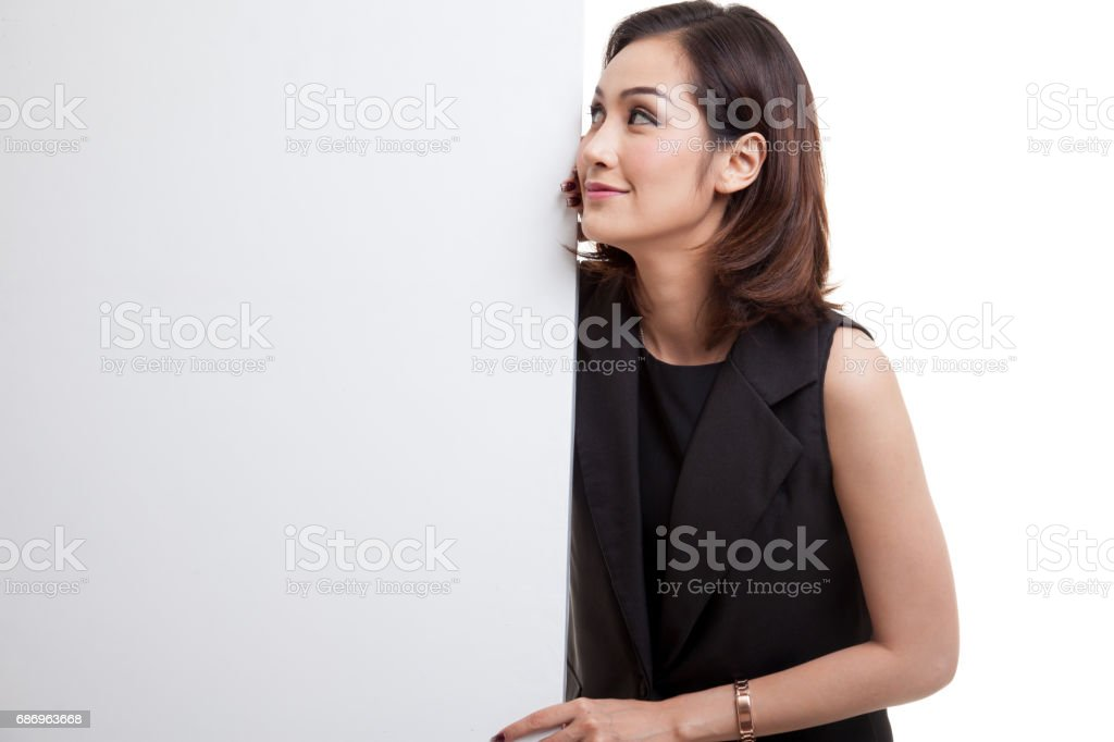 Young Asian woman with blank sign. stock photo