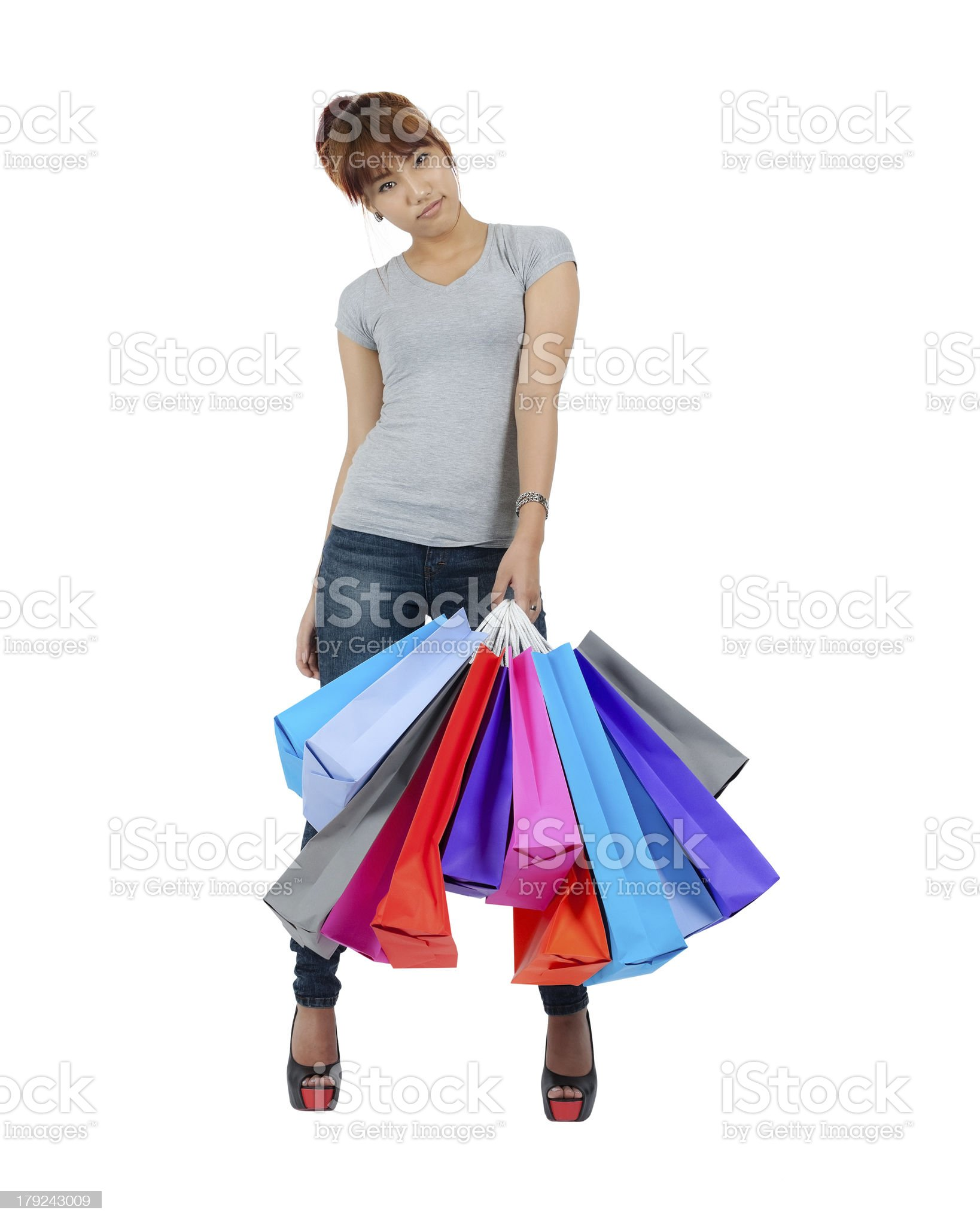 Young Asian woman with colorful shopping Bags royalty-free stock photo
