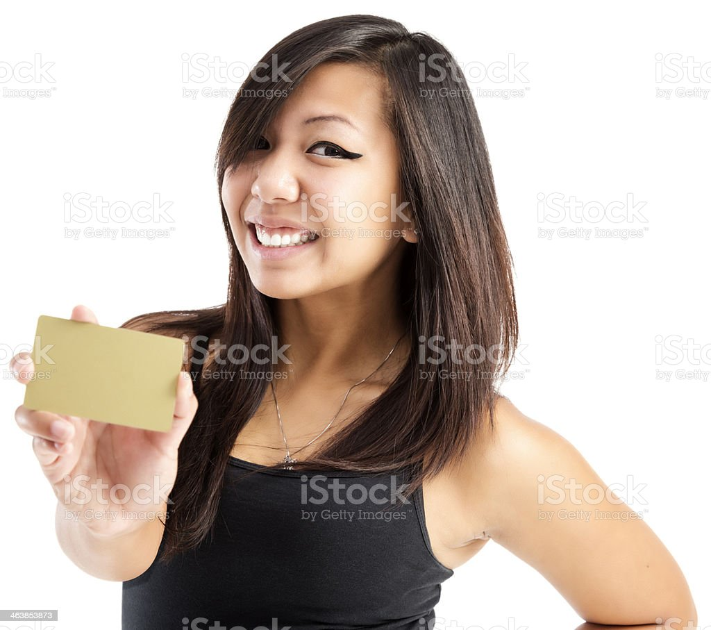 Young Asian Woman with Gold Credit Card stock photo