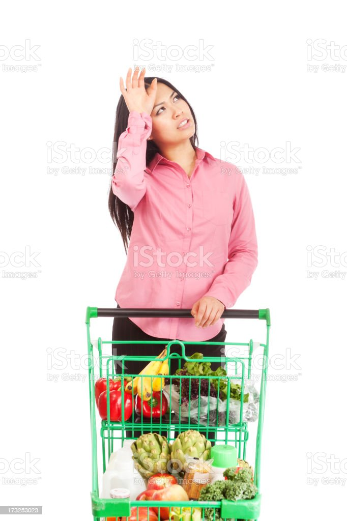 Young Asian Woman with Grocery Cart Worrying About Dinner Menu royalty-free stock photo