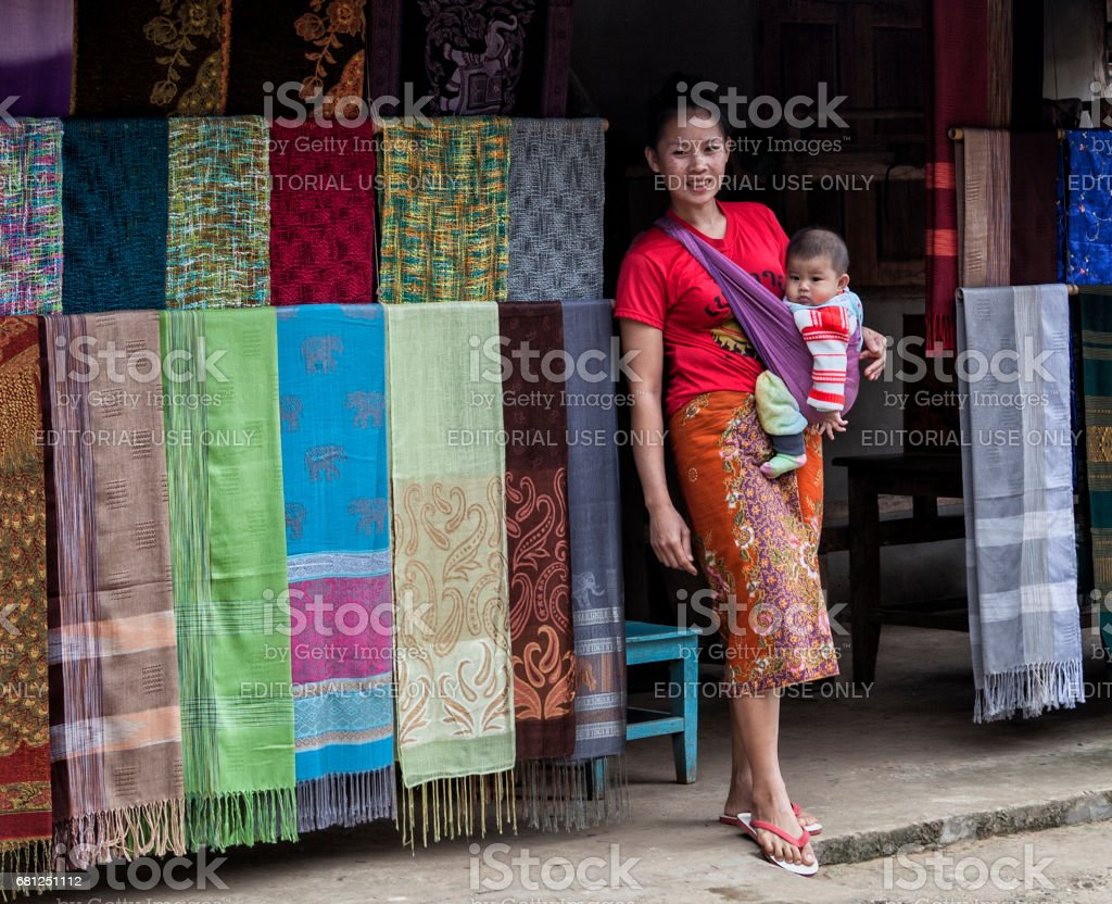 A young Asian woman with her baby stock photo