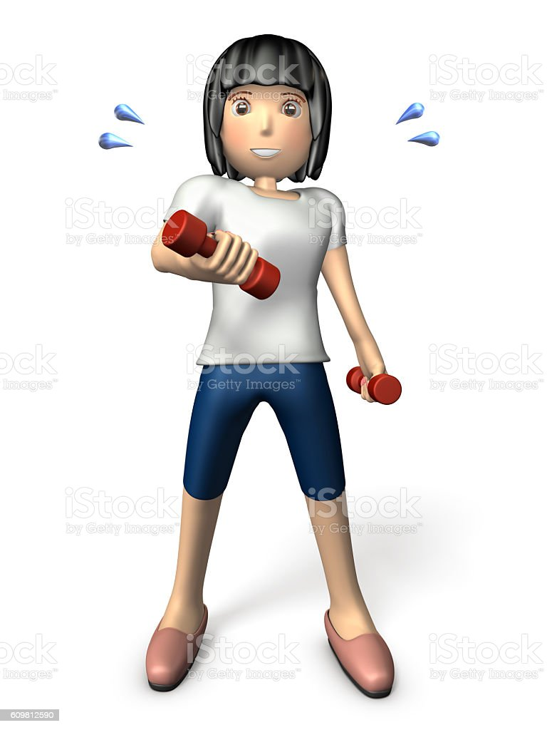 Young Asian women exercise with a dumbbell. stock photo