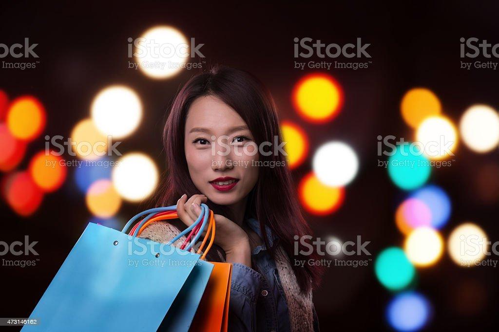 Young Asian women in shopping stock photo
