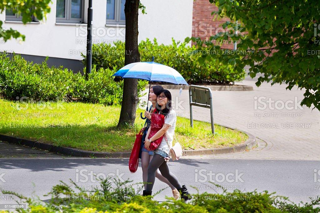 Young asian women with shopping bags stock photo