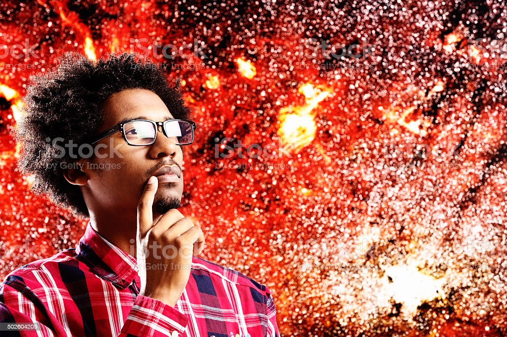 Young astrophysicist gazing in awe at our galaxy stock photo