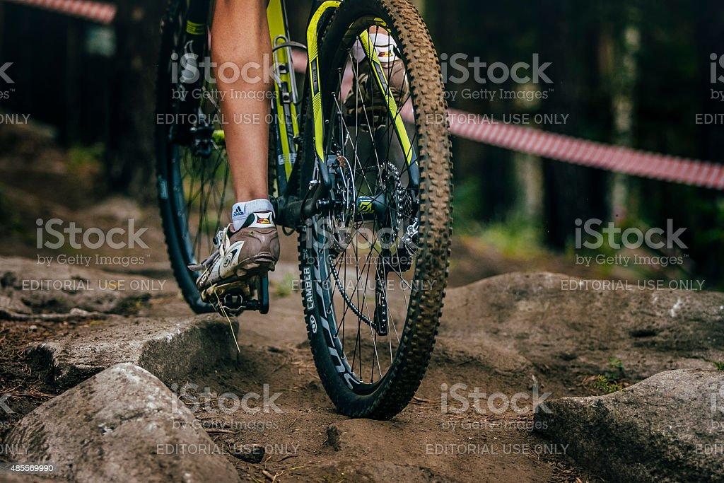 젊은 선수 산악 자전거 royalty-free 스톡 사진