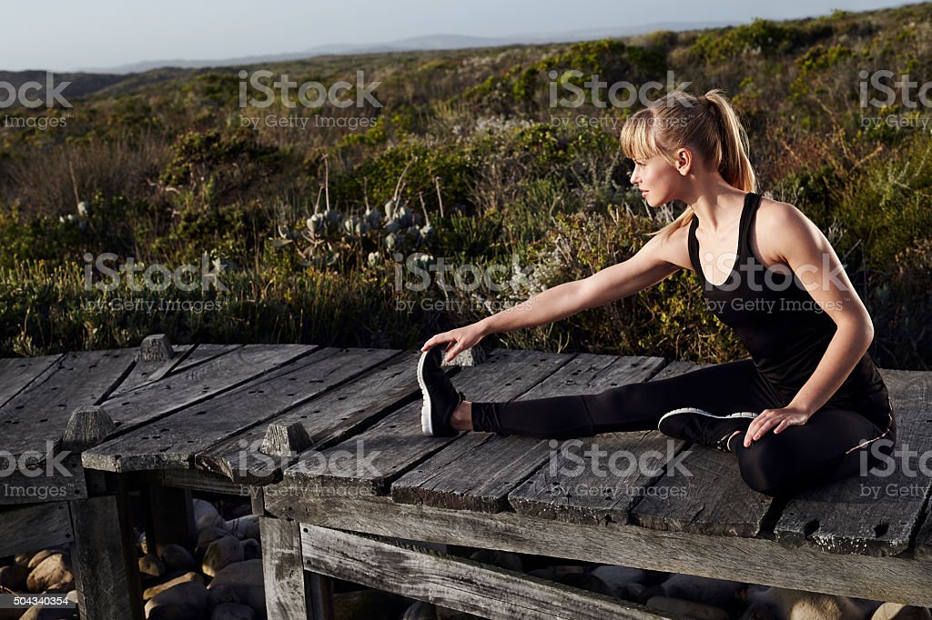 Young athlete preparing stock photo