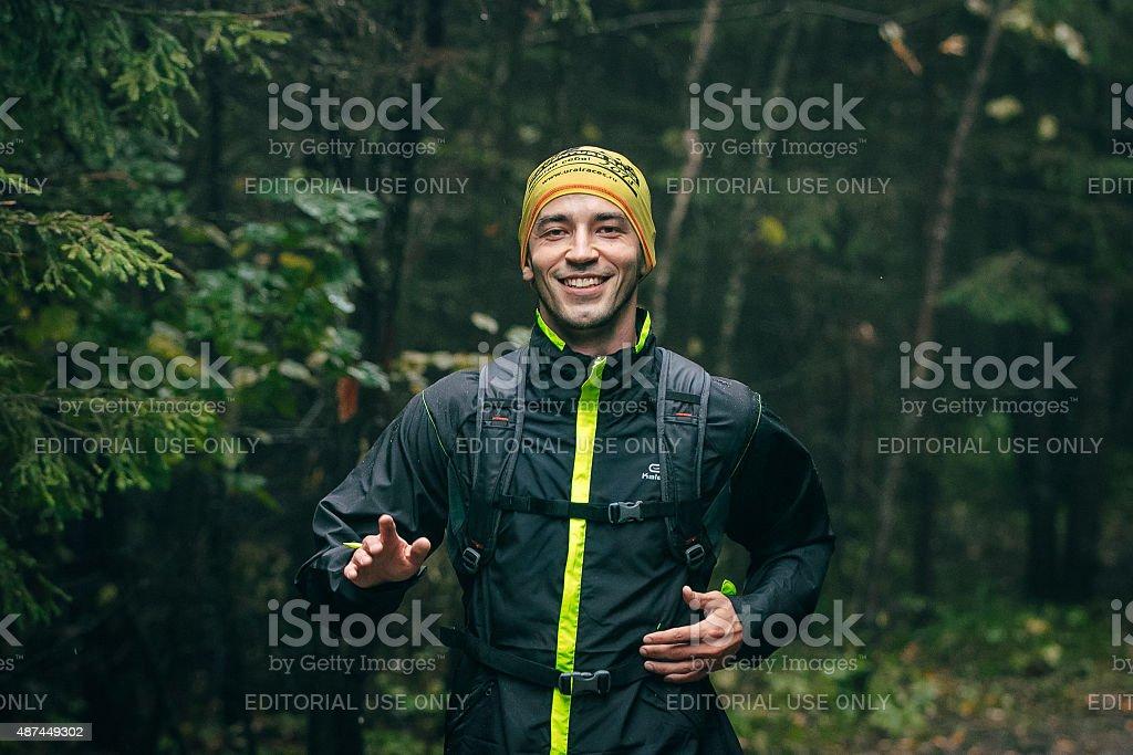 웃는 젊은 실행 중에는 Track and Field athlete royalty-free 스톡 사진