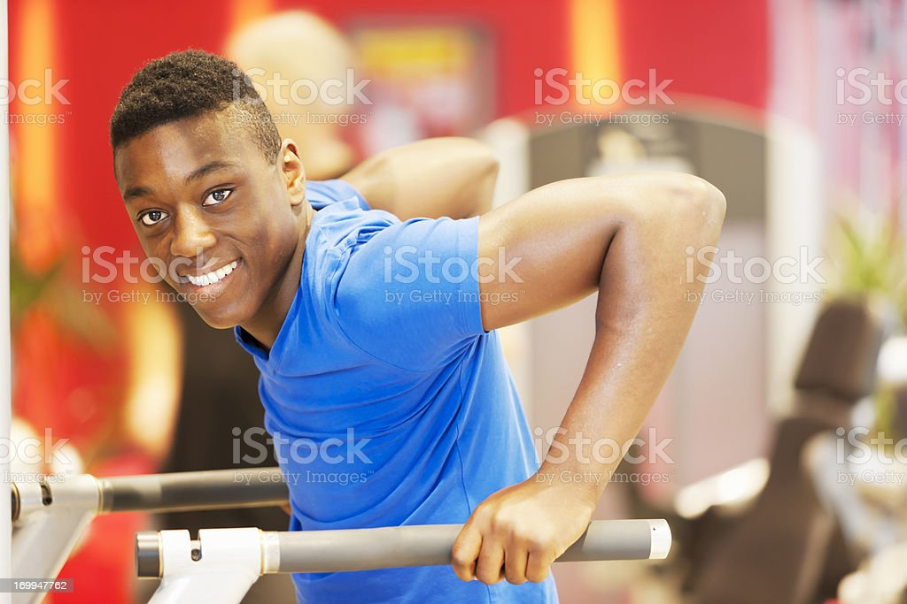 Young athlete training triceps stock photo
