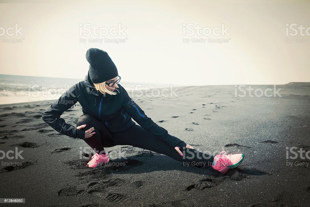 Young athlete woman at the Iceland. stock photo