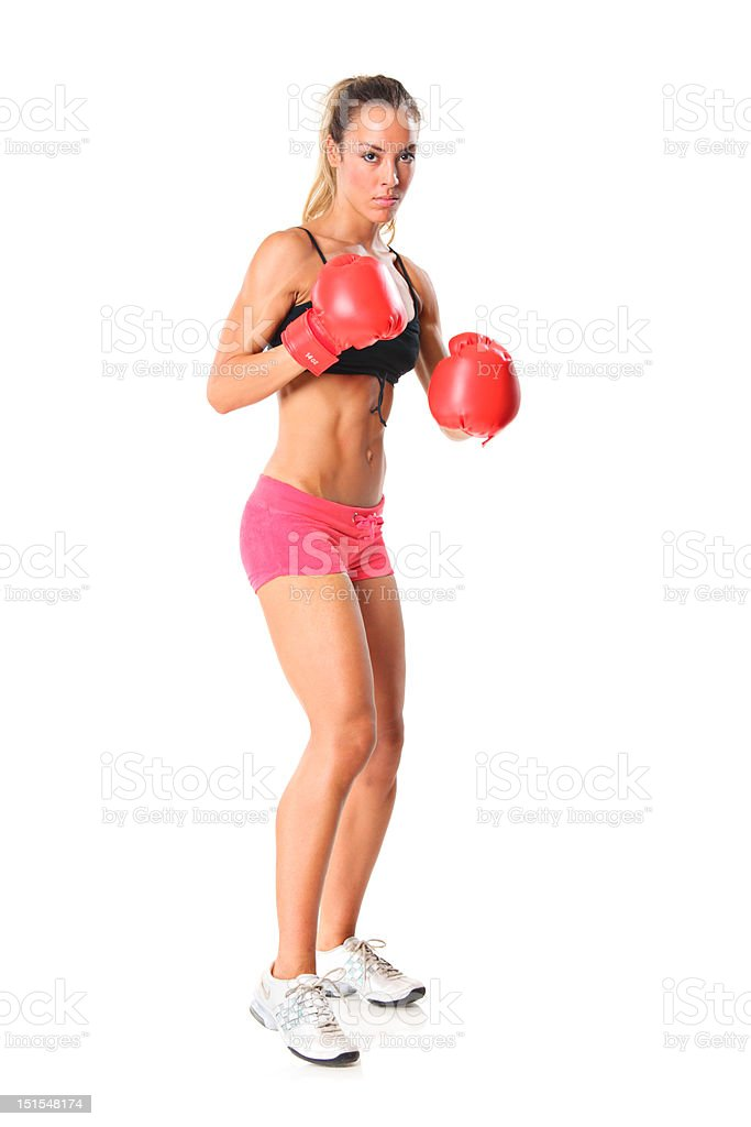 Young athlete woman ready to fight royalty-free stock photo