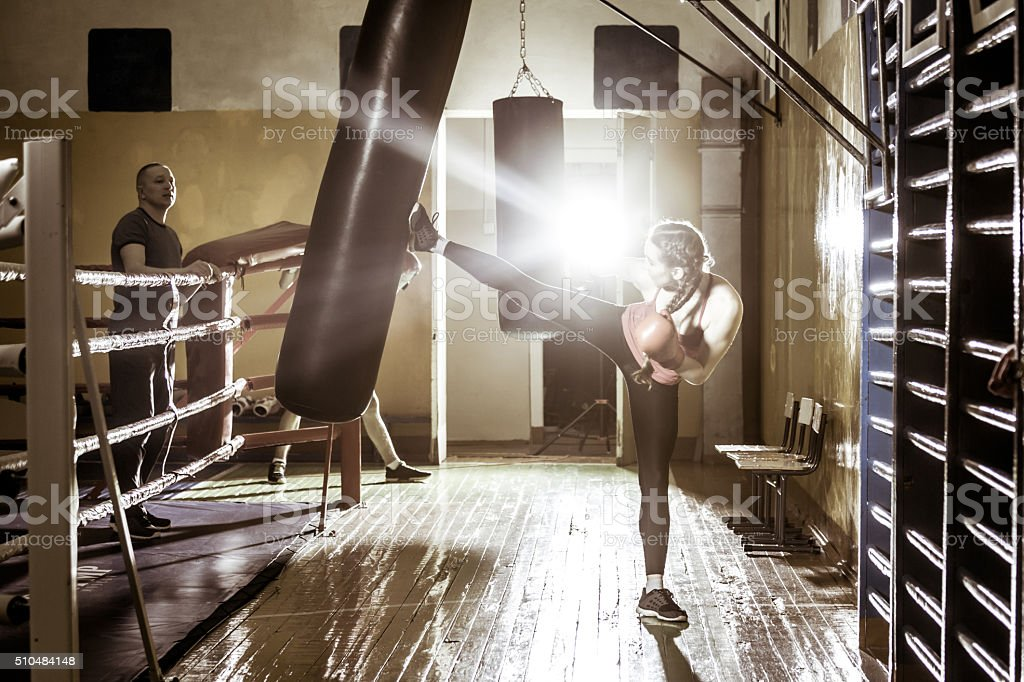 Young Athletes Teenagers Performs Boxing Punches stock photo