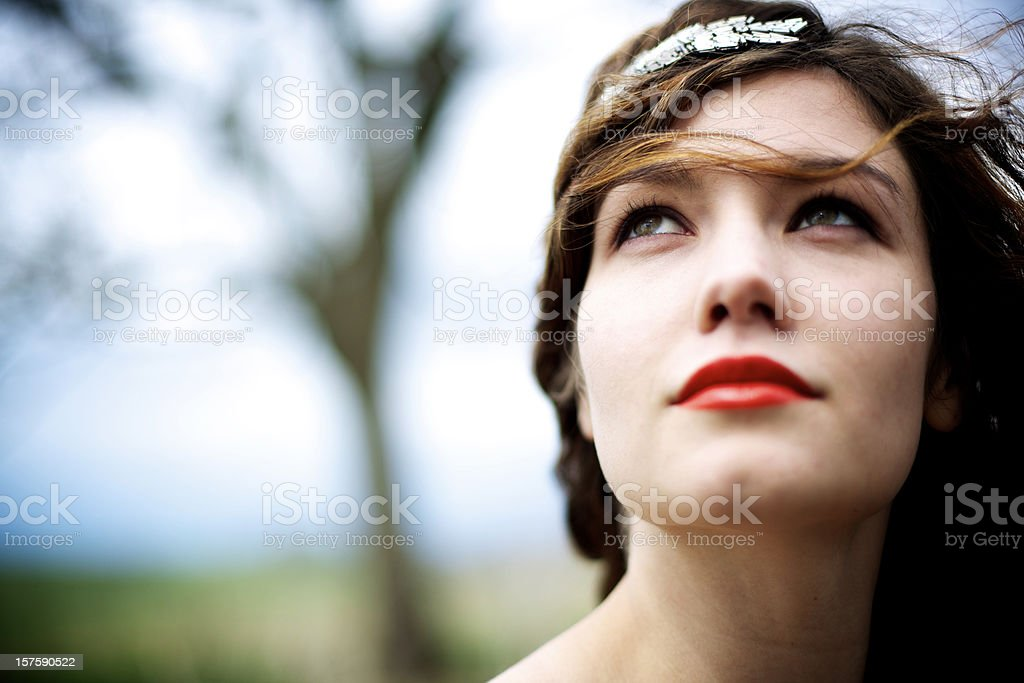 young attractive adult woman outdoors royalty-free stock photo