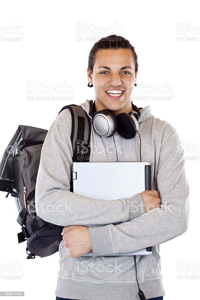 Young attractive american student with headphones and laptop smiles happy royalty-free stock photo