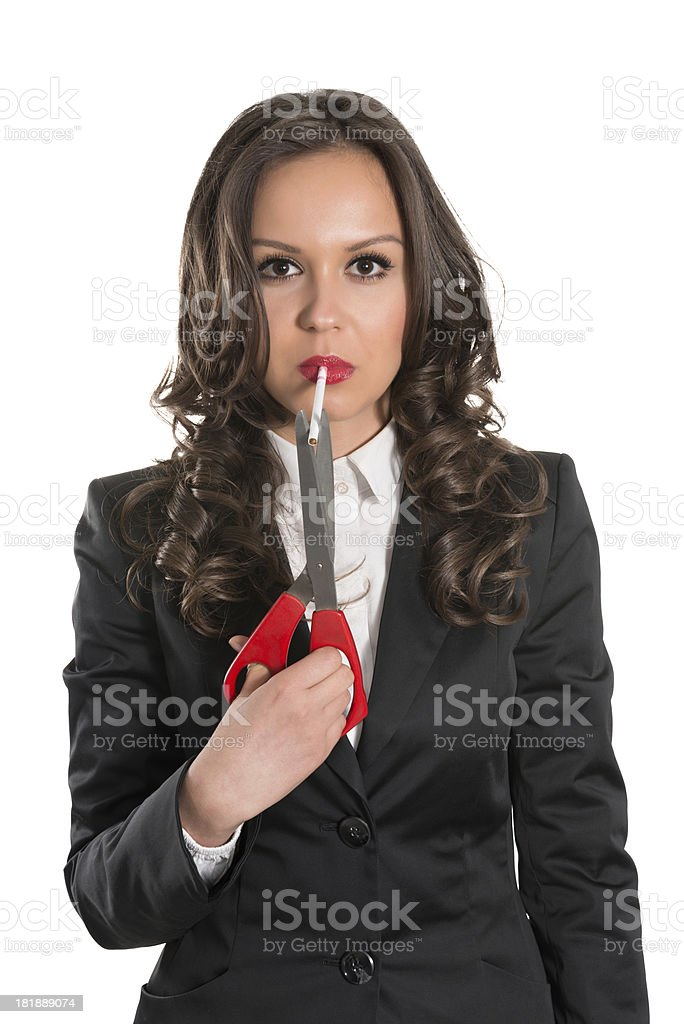 Young Attractive and Confident Businesswoman is Going to Quit Smoking royalty-free stock photo