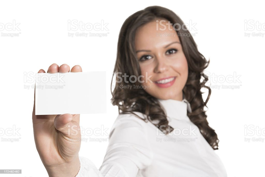 Young Attractive and Confident Businesswoman with Blank Business Card royalty-free stock photo