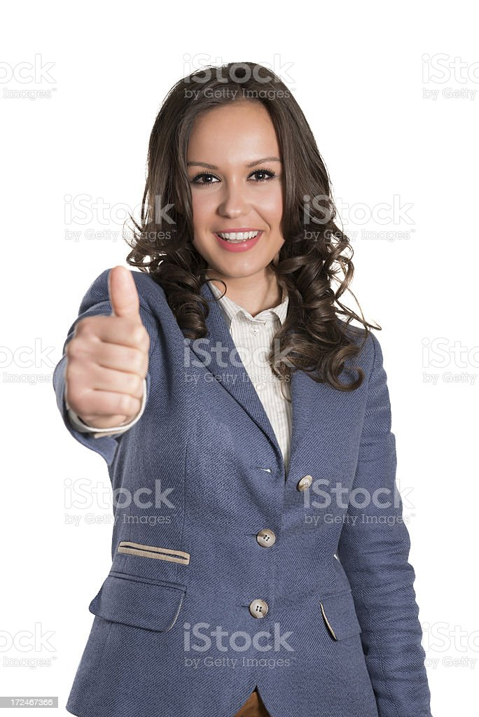 Young Attractive and Confident Businesswoman With Thumbs Up royalty-free stock photo
