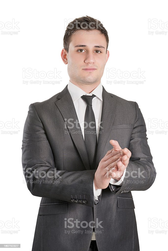 Young Attractive and Successful Businessman Applauding royalty-free stock photo
