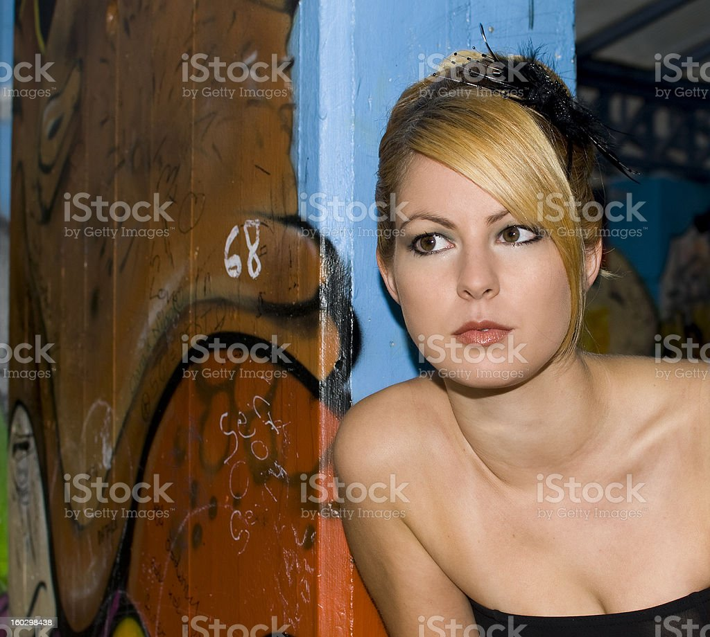Young attractive blond woman stock photo