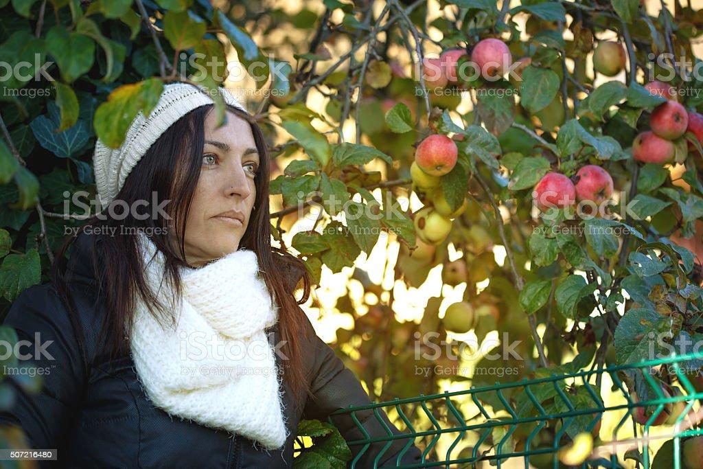 Jovem atraente morena em um dia ensolarado de inverno foto royalty-free