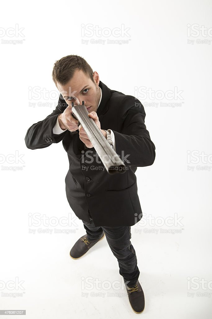Young attractive businesman hunting stock photo