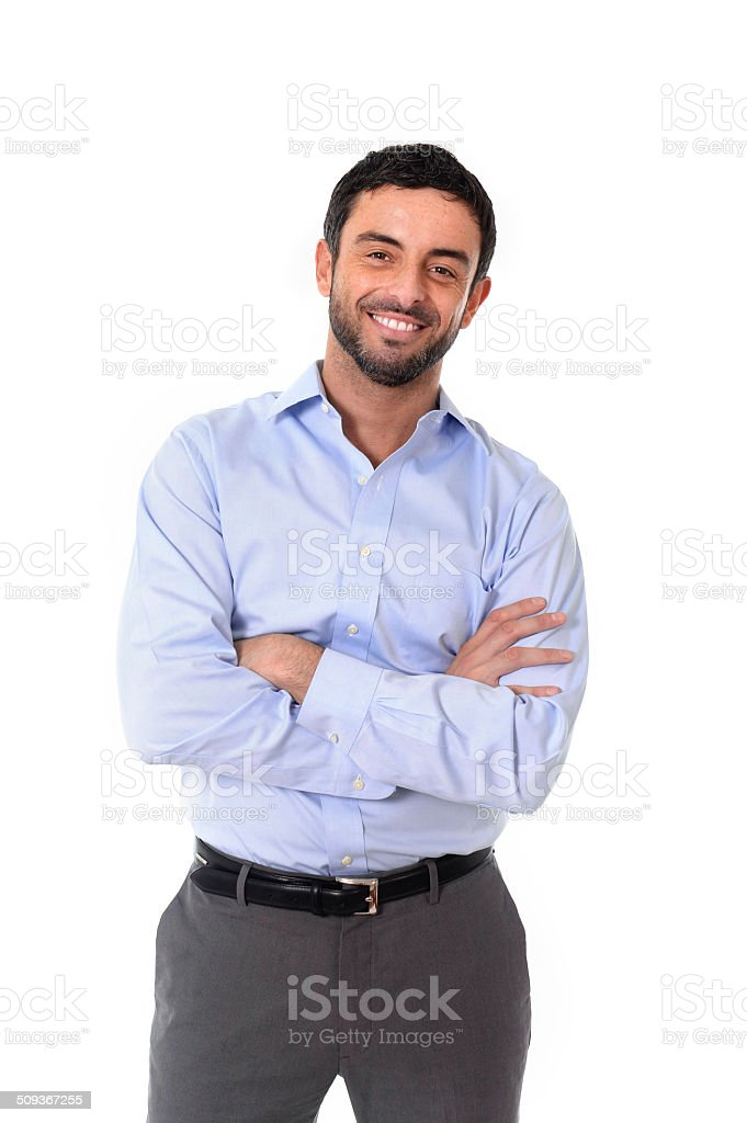 young attractive business man standing in corporate portrait stock photo