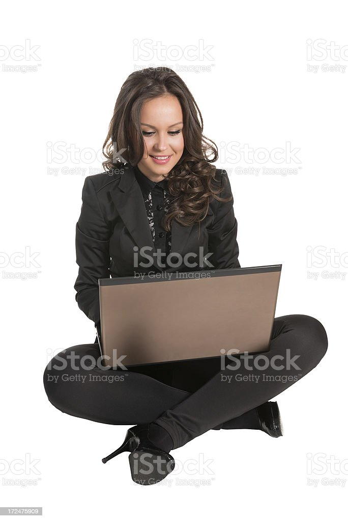 Young Attractive Businesswoman How Sitting and Using Computer royalty-free stock photo